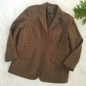 Lauren Ralph Lauren Brown Plaid Wool Blazer Jacket